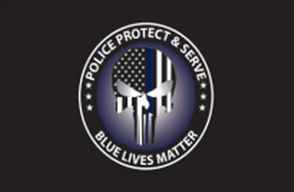 Police Protect and Serve Punisher Blue Lives Matter USA Flag - Made in USA