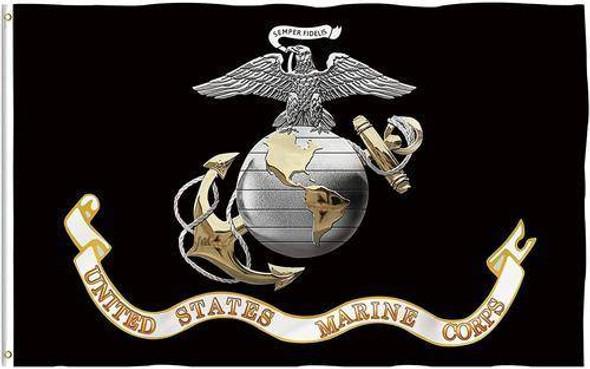 3x5 USMC - Marine Corps Black Flag with grommets - Standard