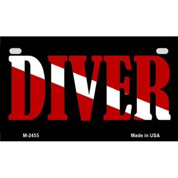 Diver Down Diagonal  Flag License Plate