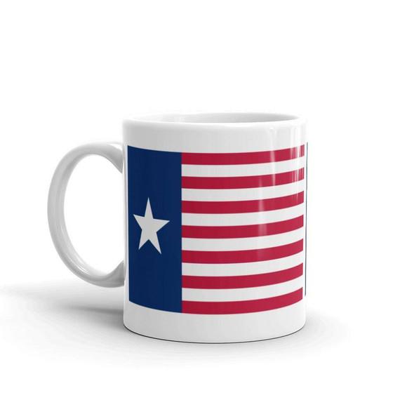 Ceremonial Flag of the Texas Navy White glossy mug