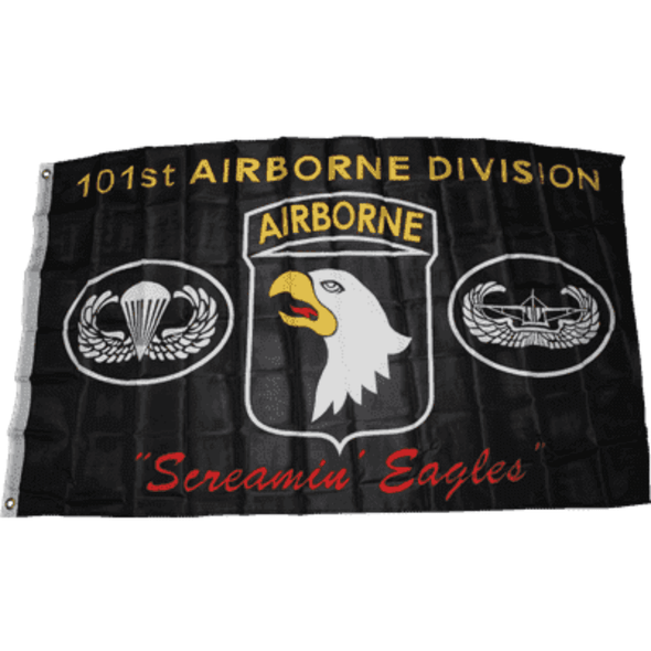 """101st Airborne Division """"Screaming Eagles""""  Black Flag - Made in USA"""