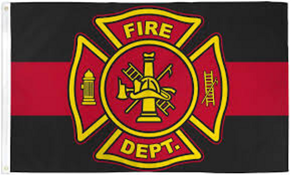 3'x5' Fire Department Red Line Double Sided Flag - Rough Tex