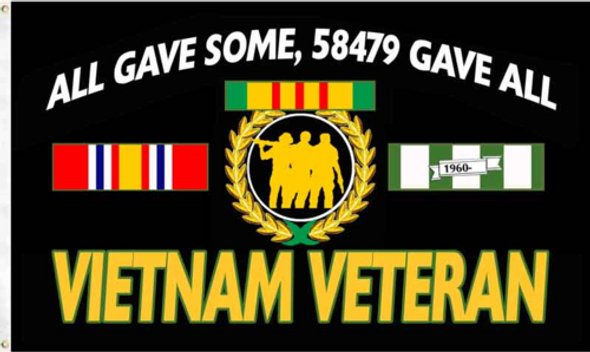 3'x5' Vietnam Veteran All Gave Some, 58479 Gave All Flag - Rough Tex