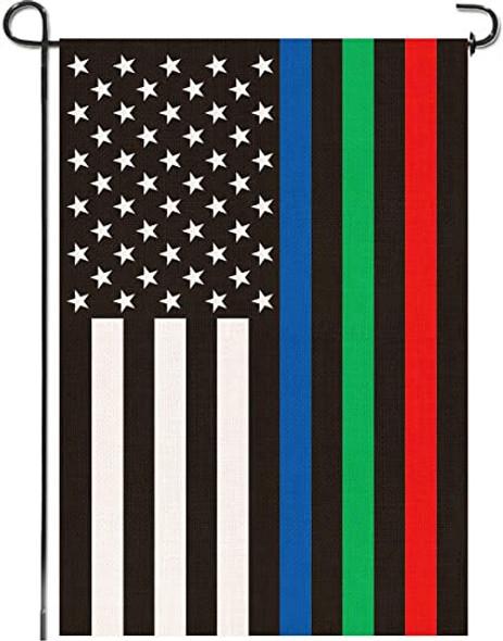 12x18 inch USA Thin Red Blue Green Line Garden Pole Hem Flag - Rough Tex