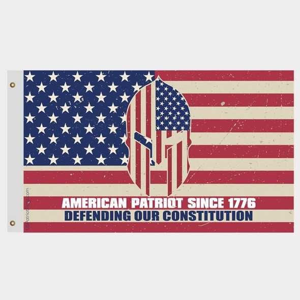 American Patriot Since 1776 Defending Our Constitution Vintage Flag - Made in USA