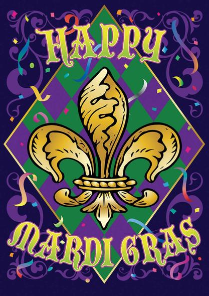 12x18 inch Happy Mardi Gras Garden Pole Hem Flag - Rough Tex