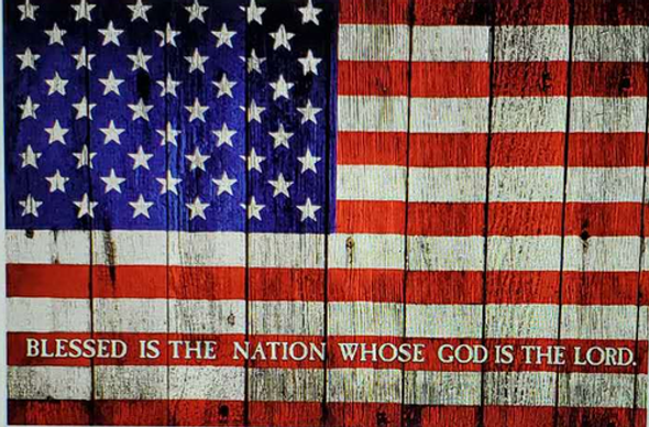 Blessed Is The Nation Whose God Is The Lord USA Flag 3x5 ft. - Rough Tex