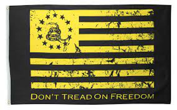 Don't Tread On Freedom Black and Gold 3x5 ft Flag - Rough Tex