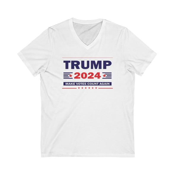 Trump 2024 Make Votes Count Again Unisex Jersey Short Sleeve V-Neck Tee