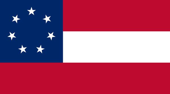 1st  National Confederate 7 Stars & Bars Flag - Economy