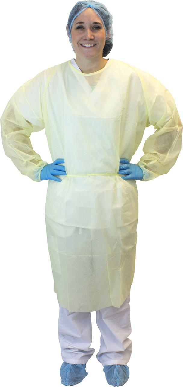 Yellow Polypropylene Isolation Gown, Ties, 50/CS, XL