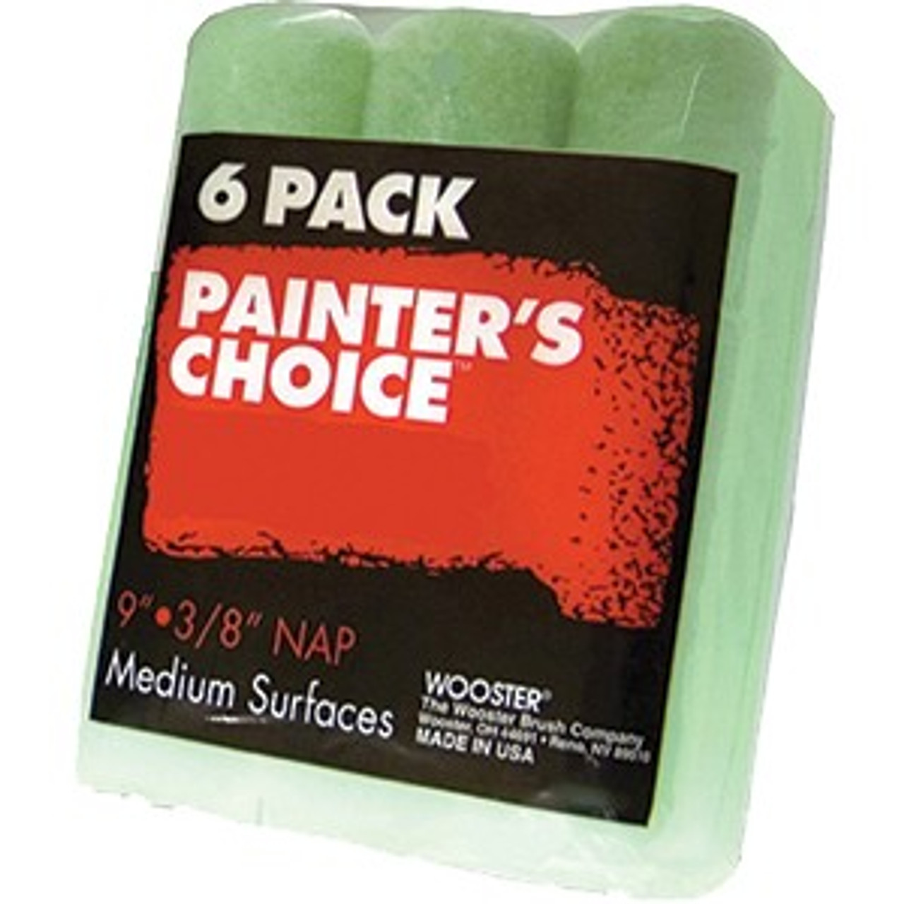 """Wooster R959 9"""" Painters Choice 3/8"""" Nap Roller Cover 6Pk"""