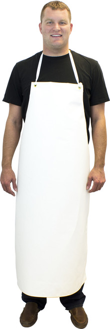 "16 Oz. 36""x48"" Heavy Weight White Hycar Apron, Four Grommets & S"