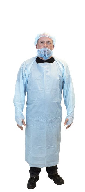"Blue Cast Polyethylene ""CPE"" Apron, Thumb Hole Sleeves, 100/CS, LG"