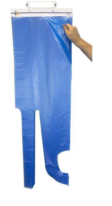 "28""x46"" Blue High Density Apron, 100/Header 10Headers/CS"