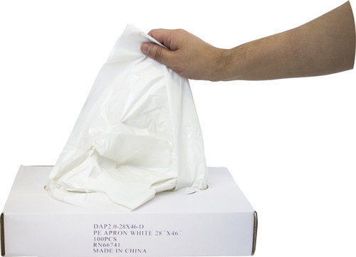 "2 MIL 28""x46"" White Apron, Dispenser Boxed, 100/BX 5BX/CS"