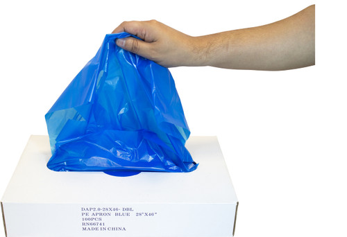 "2 MIL 28""x46"" Blue Apron, Dispenser Boxed, 100/BX 5BX/CS"