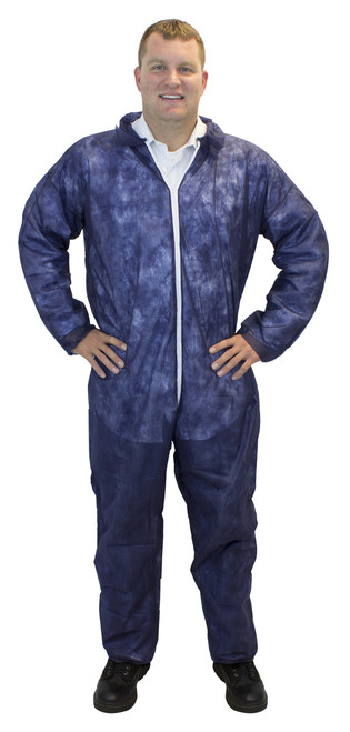 Blue Disposable Polypropylene Coverall, No Hood or Elastic Wrists, 2