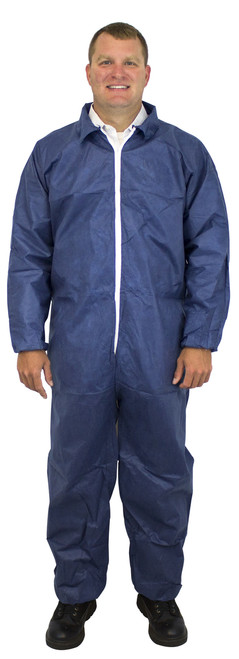 Blue SMS Polypropylene Coverall, Elastic Wrists & Ankles, 25/CS, MD