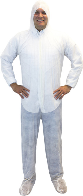 White Disposable Polypropylene Coverall, Hood, Boots & Elastic Wris