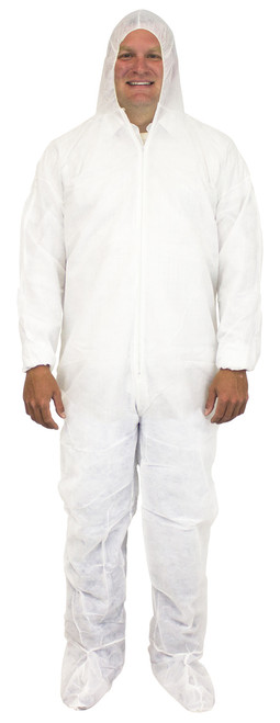 White 40 Gram Disposable Polypropylene Coverall, Hood, Boots & El