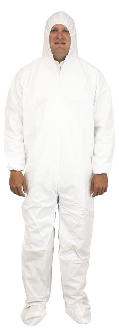 White Breathable Microporous Coverall, Hood, Boots & Elastic Wrist