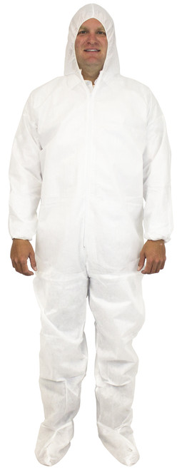 White 50 Gram SMS Polypropylene Coverall, Hood, Boots & Elastic