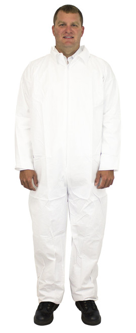 White Breathable Microporous Coverall, No Hood or Elastic, Individu