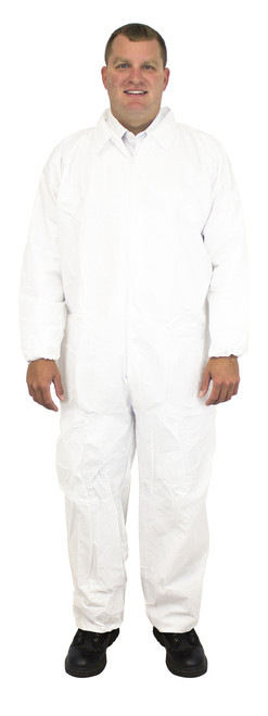 White Breathable Microporous Coverall, Elastic Wrists & Ankles, Indi