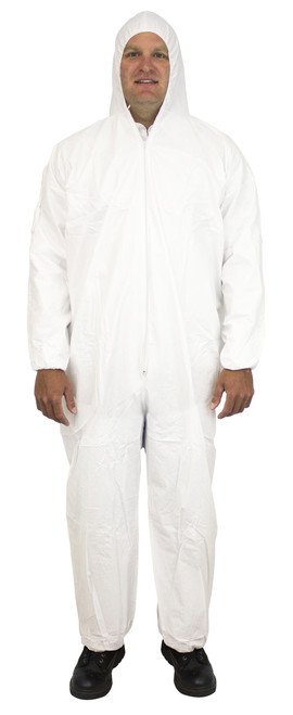 White Breathable Microporous Coverall, Hood, Elastic Wrists & Ankl