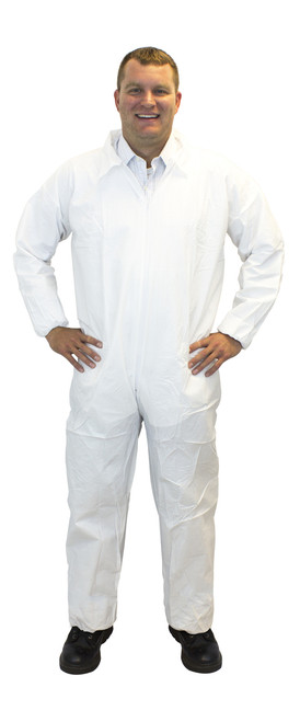 White SMS Polypropylene Coverall, Elastic Wrists & Ankles, 25/CS, M