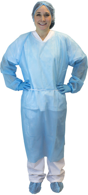 Blue Polypropylene Isolation Gown, Ties, 50/CS, 2X
