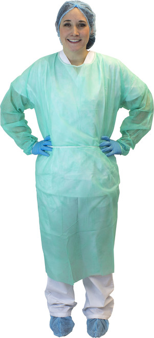 Green Polypropylene Isolation Gown, Ties, 50/CS, 2X