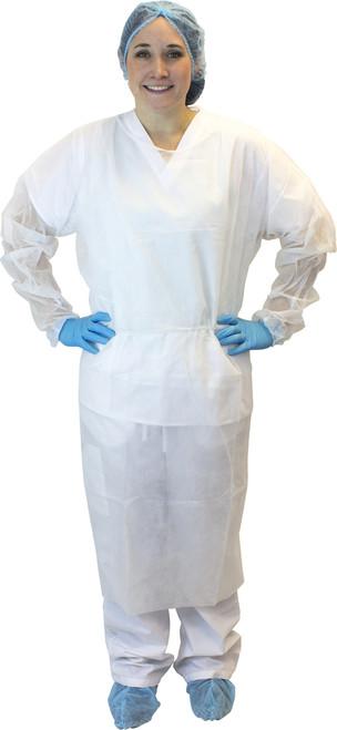 White Polypropylene Isolation Gown, Ties, 50/CS, 2X