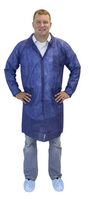 Blue Polypropylene Lab Coat, 3 Pockets & Elastic Wrists, 30/CS, MD-
