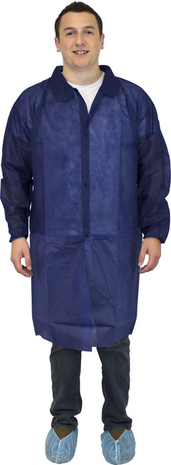 Blue Polypropylene Lab Coat, No Pockets & Elastic Wrists, 30/CS, MD-