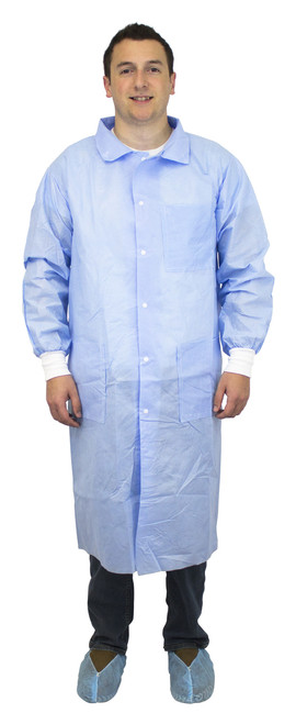 Blue 50 Gram SMS Polypropylene Lab Coat, Knit Wrist, Collar & 3 Pock