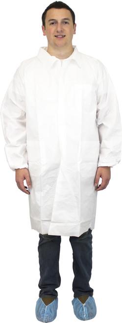 White Breathable Microporous Lab Coat, Elastic Wrists & 3 Pockets, I