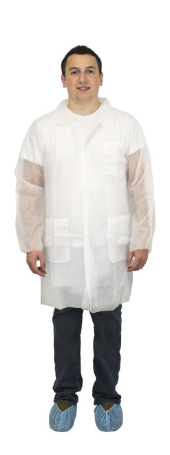 White Polypropylene Economy Lab Coat, 3 Pockets, Elastic Wrists 30/C