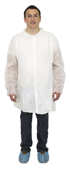 White Polypropylene Economy Lab Coat, No Pockets, Elastic Wrists 30/