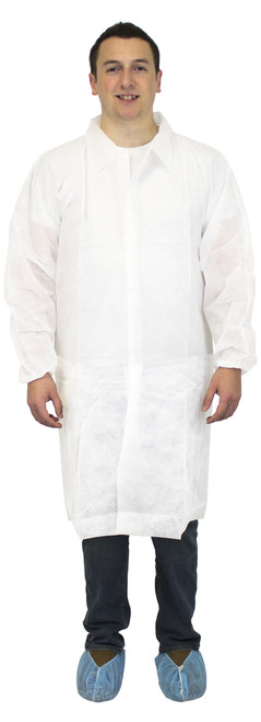 White Polypropylene Lab Coat, No Pockets & Elastic Wrists, 30/CS, SM