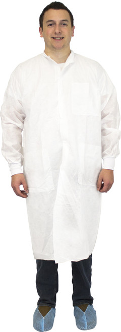White 50 Gram SMS Polypropylene Lab Coat, Knit Wrist, Collar & 3 Poc