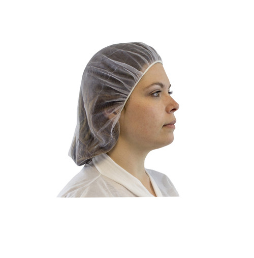 "18"" White Fine Mesh Nylon Hairnet, 100/BG 10BG/CS"