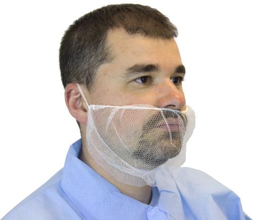 White Polyester Mesh Beard Net, 100/BG 10BG/CS