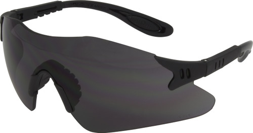 Wrap Around Style, Black Frame, Smoke Lens with Adjustable Temple,