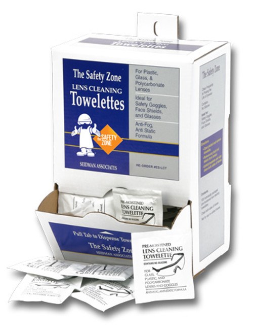 Safety Zone Pre Moistened Anti-Fog Lens Cleaning Towelettes, 100BX