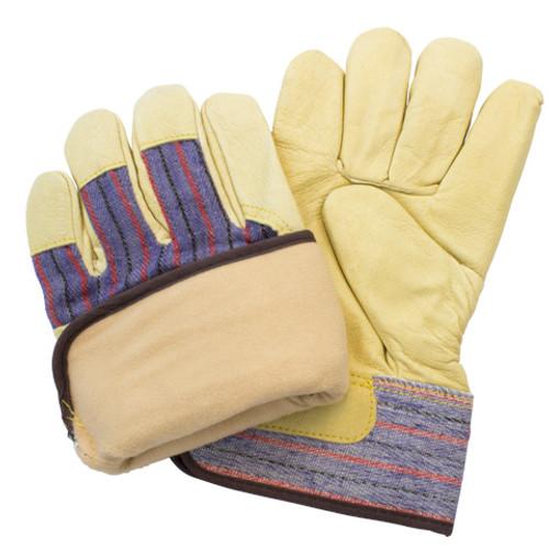 Premium Top Grain Pig Leather, Safety Cuff, Fleece Lining, 1DZ Pair/Ba