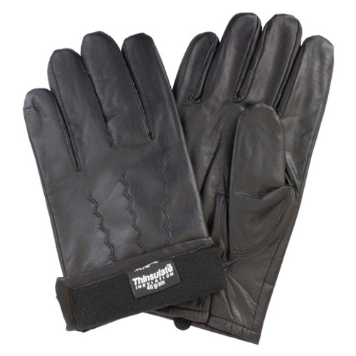 Black Soft Grain Leather Drivers, Keystone Thumb, Thinsulate  Lining,