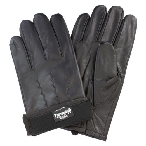 Black Soft Grain Leather Drivers, Keystone Thumb, Thinsulate  Lining,