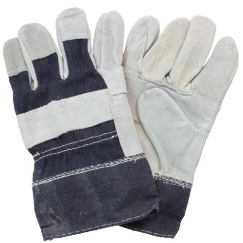 """B"" Grade, Gunn Leather Patch Palm, Denim Safety Cuff, 10DZ/CS, Me"